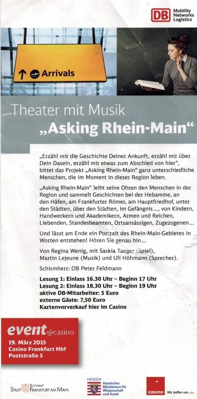 Asking Rhein Main, Martin Lejeune, Uli Höhmann, Saskia Taeger, Regina Wenig