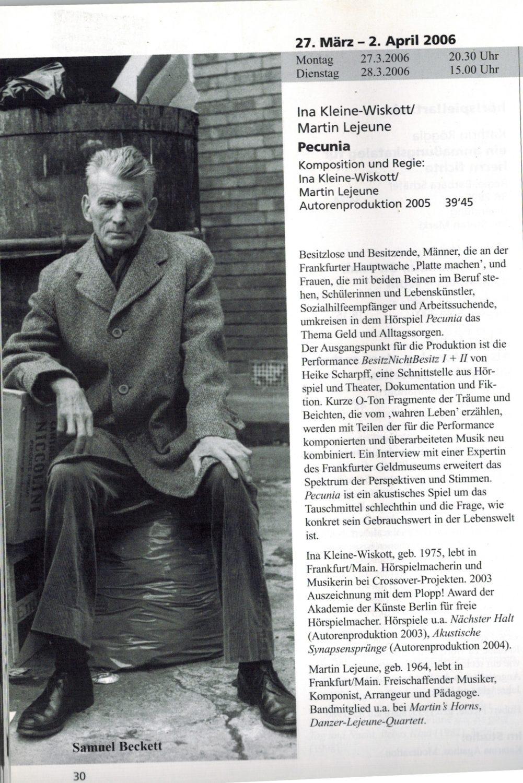 Bayerischer Rundfunk, Hörspiel, Martin Lejeune, Ina Kleine-Wiskott