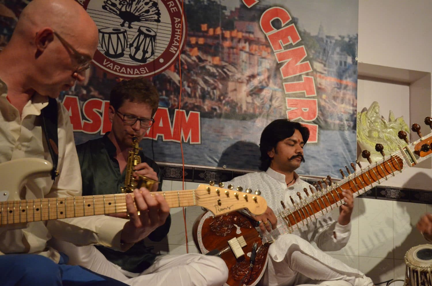 Peter Hinz, Steffen Dix, Martin Lejeune, Sandip Kewale, Shyam Rastogi, International Music Center Ashram, Varansi, India