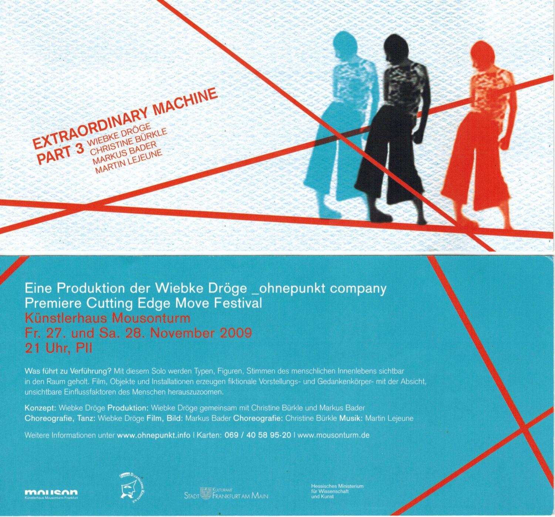 Extraordinary machine III, Martin Lejeune, Bühnenmusik, Tanz, Mousonturm Frankfurt