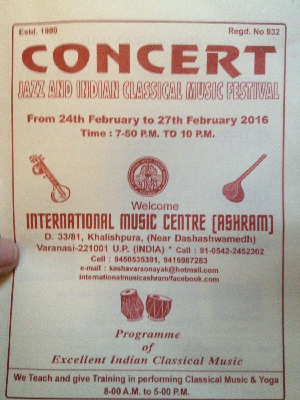 Martin Lejeune, Concert Varanasi