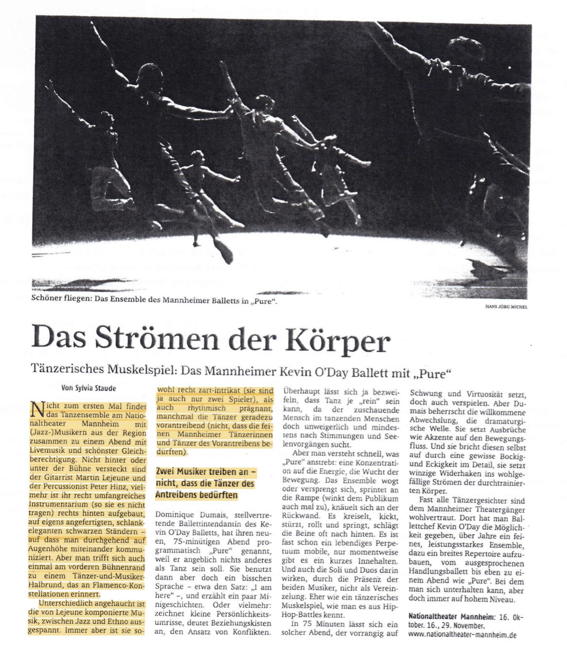 Pure, Kevin O'Day Ballett, Nationaltheater Mannheim, Bühnmusik, Komponist