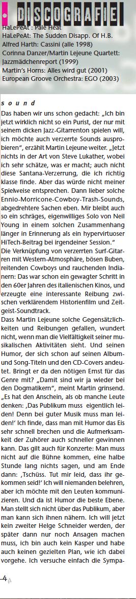Gitarre und Bass, Martin Lejeune