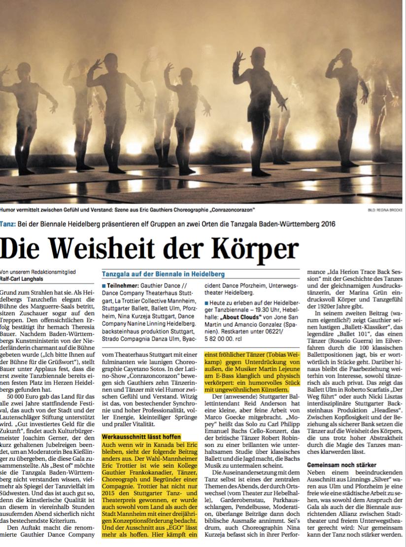 Tanzbiennale Heidelberg, La Trottier Dance Collective, Mannheimer Morgen, Martin Lejeune, Tobias Weikamp